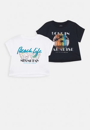 NKFVILMA CROP 2 PACK - T-shirt z nadrukiem - bright white/blue