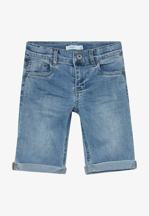 NKMSOFUS LONG - Shorts vaqueros - light blue denim