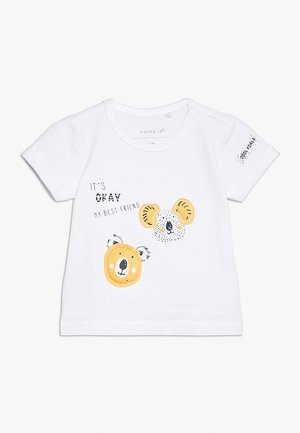 NBMHENNO TOP BOX - T-shirt print - bright white