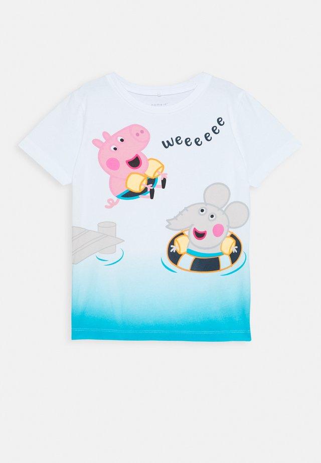 NMMPEPPAPIG ANKER BOX PEP - T-shirt z nadrukiem - white/blue