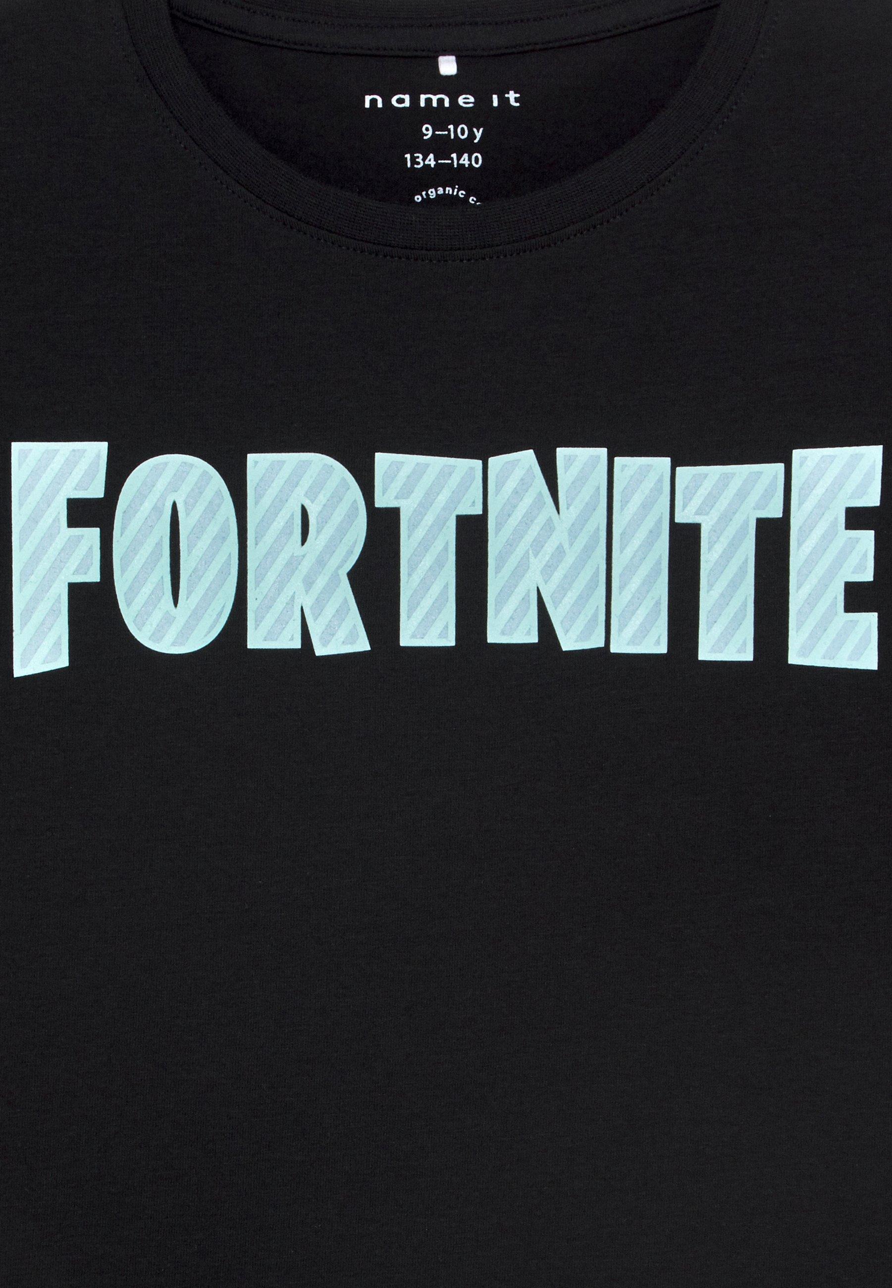 Name it NKMFORTNITE - T-shirt z nadrukiem - black - Ubranka dla dzieci