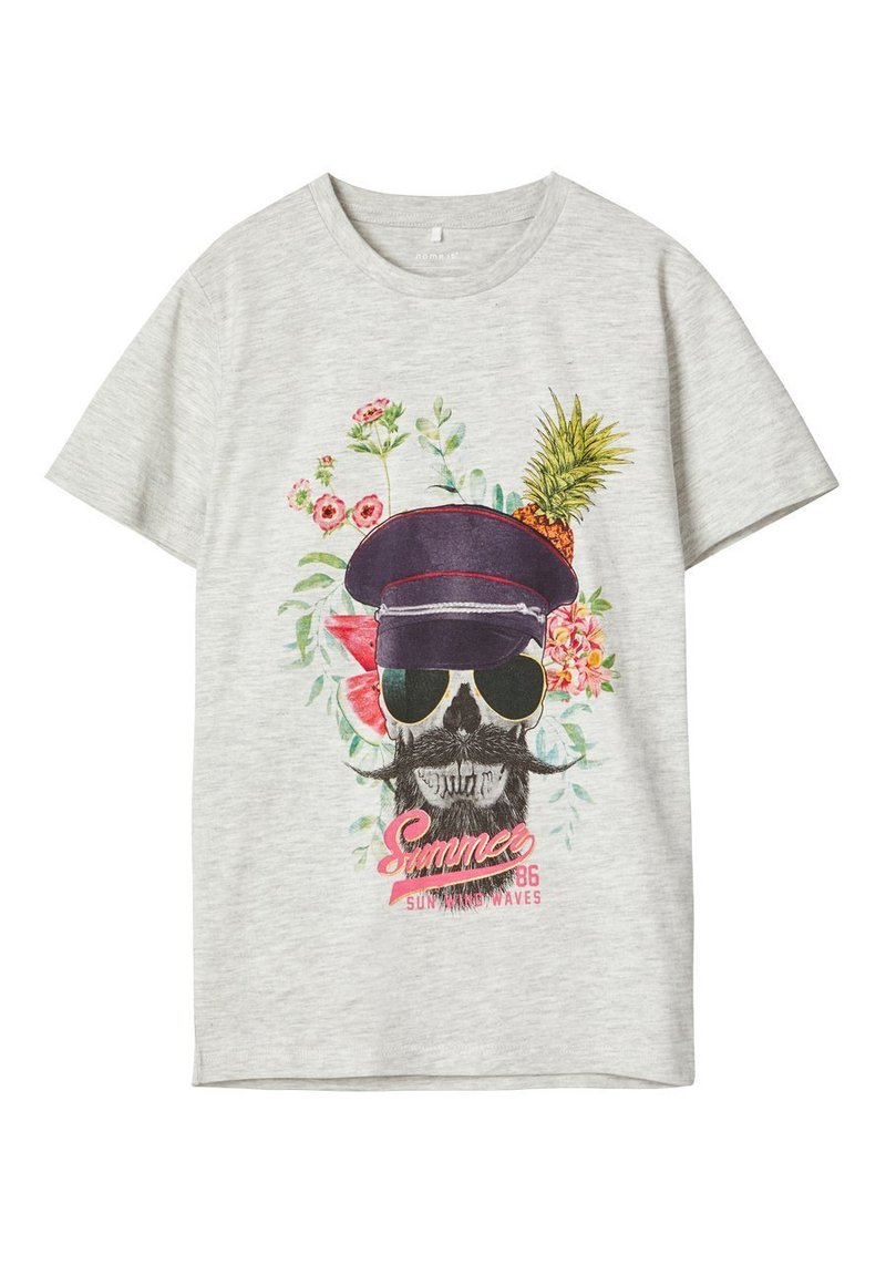Name it - Print T-shirt - light grey melange