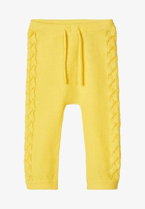 STRICKHOSE LOCHMUSTER BAUMWOLL - Pantalon classique - aspen gold