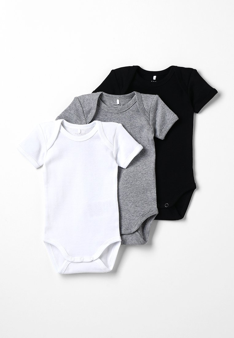 Name it - BABY BASIC 3 PACK - Body - black/white/lightgreymelange