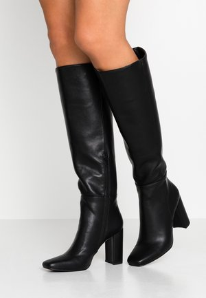STRAIGHT SHAFT KNEE BOOTS - Boots med høye hæler - black