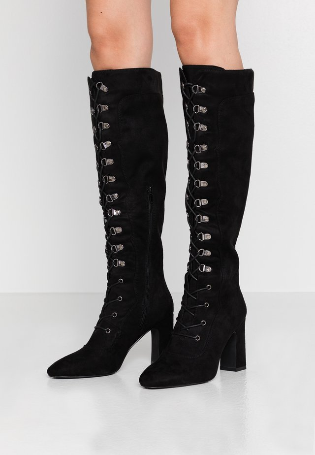 LACE UP KNEE BOOTS - High Heel Stiefel - black