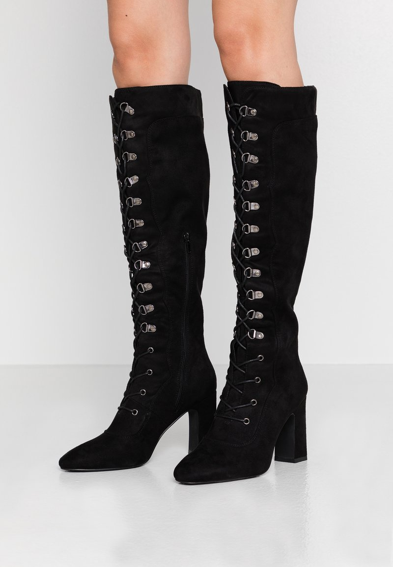 NA-KD - LACE UP KNEE BOOTS - High heeled boots - black