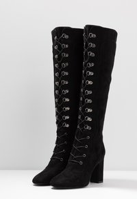 NA-KD - LACE UP KNEE BOOTS - High heeled boots - black - 4