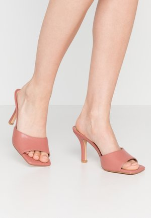 SQUARED TOE STILETTO MULES - Heeled mules - dusty pink