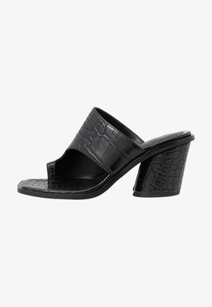 TOE RING MULES BLOCK HEEL - T-bar sandals - black