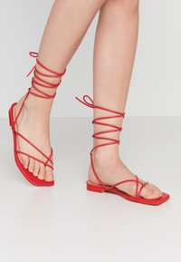 NA-KD - FLAT STRAP  - T-bar sandals - red - 0