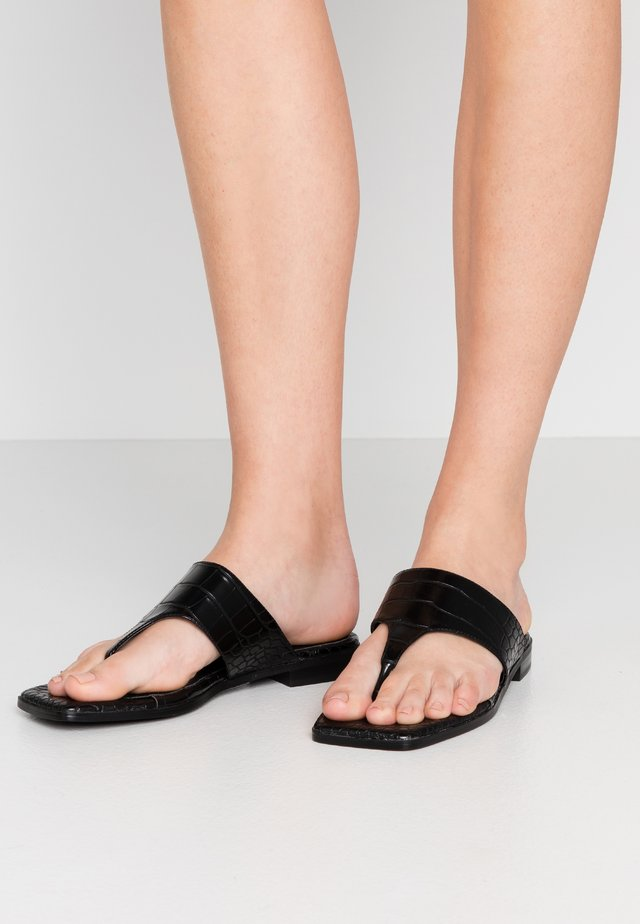 TOE STRAP FLATS - T-bar sandals - black