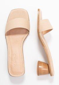 NA-KD - BASIC MULES CYLINDER HEEL - Pantofle na podpatku - natural - 3