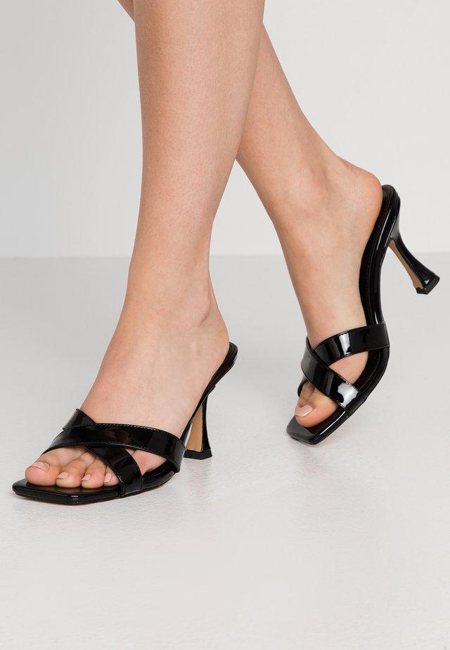 HOURGLASS HEEL MULES - Pantofle na podpatku - black
