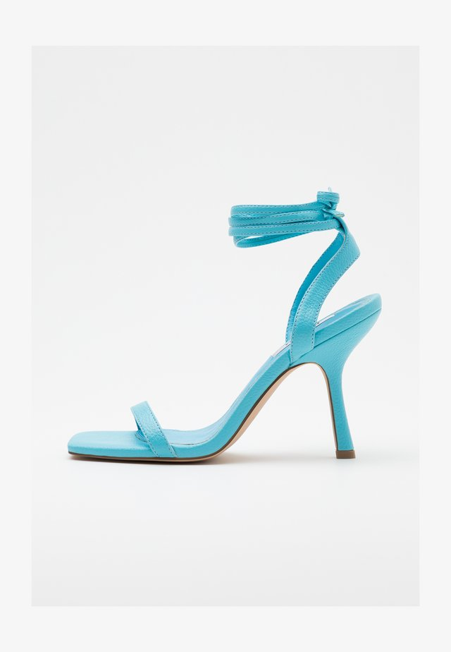 SQUARED FRONT TIE STRAP - High heeled sandals - ocean blue