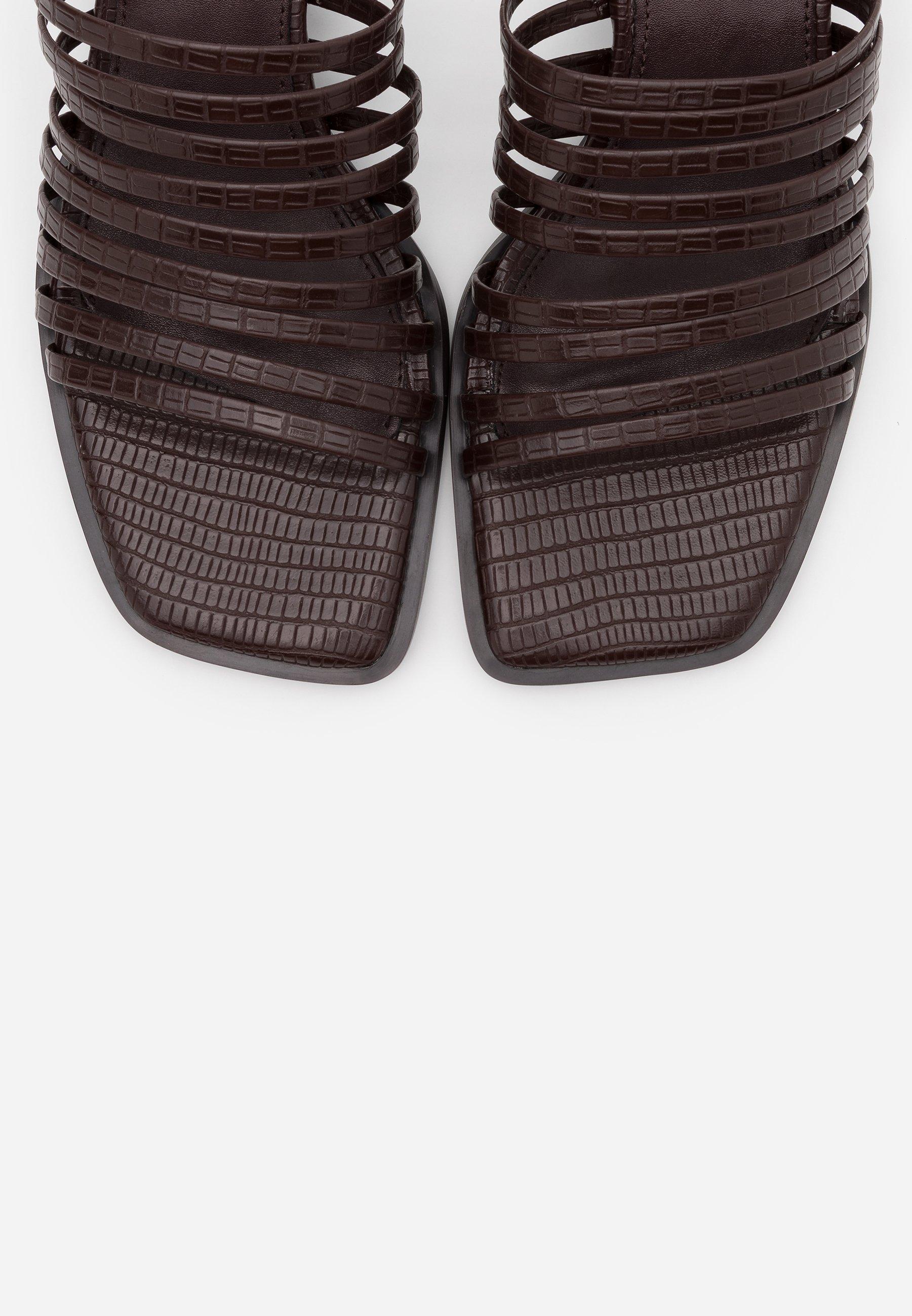 NA-KD MULTI STRAPPY BLOCK HEEL  - Pantolette hoch - dark brown FzFiH9