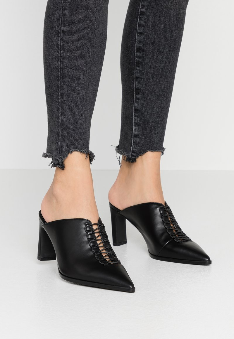 NA-KD - POINTY LACE UP MULES - Heeled mules - black