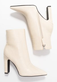 NA-KD - ROUNDED TOE BOOTS - Ankelboots med høye hæler - offwhite - 3