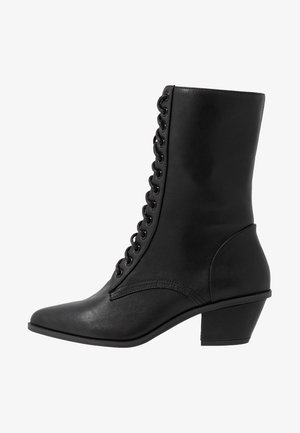 POINTY LACE UP BOOTS - Bottines à lacets - black
