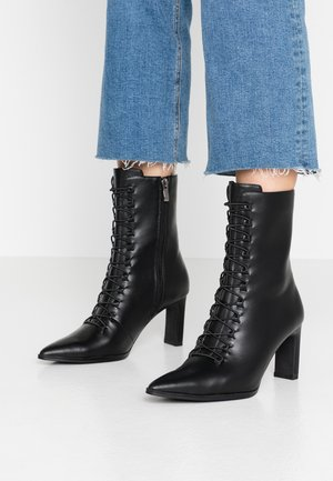 POINTY LACE UP BOOTIES - Snørestøvletter - black