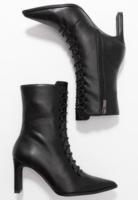 NA-KD - POINTY LACE UP BOOTIES - Lace-up ankle boots - black - 3