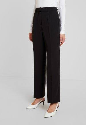 CREASED MID RISE SUIT PANTS - Pantaloni - black