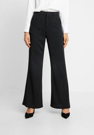 HIGH WAIST FLARED LEG SUIT PANTS - Pantaloni - black