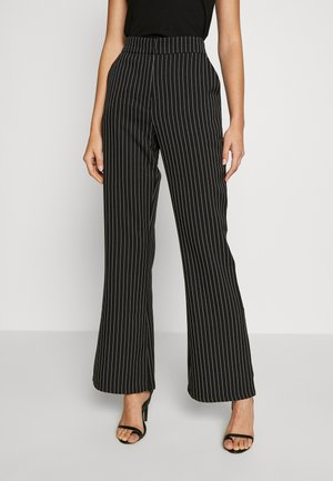 PINSTRIPED FLARED SUIT PANTS - Tygbyxor - black/stripe