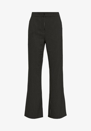 PINSTRIPED FLARED SUIT PANTS - Trousers - black/stripe