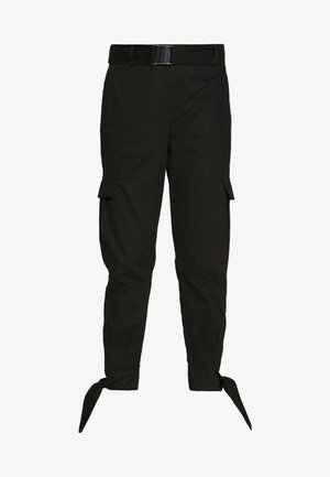 KNOT DETAIL CARGO PANTS - Trousers - black