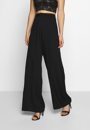 HIGH WAIST WIDE LEG PANTS - Pantalon classique - black