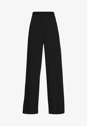 HIGH WAIST WIDE LEG PANTS - Tygbyxor - black