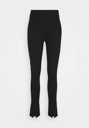 FRONT SLIT PANTS - Kalhoty - black