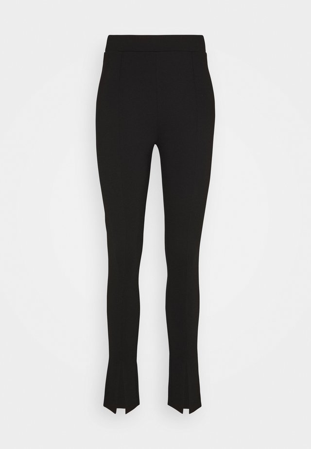 FRONT SLIT PANTS - Stoffhose - black