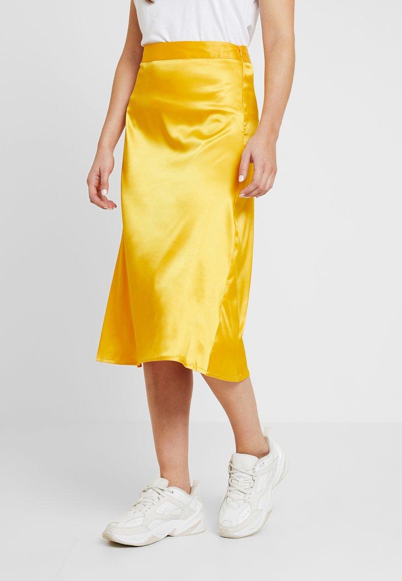 NA-KD - BIAS CUT MIDI SKIRT - A-line skirt - yellow