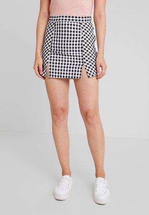 GINGHAM MINI SKIRT - A-line skirt - black/white check