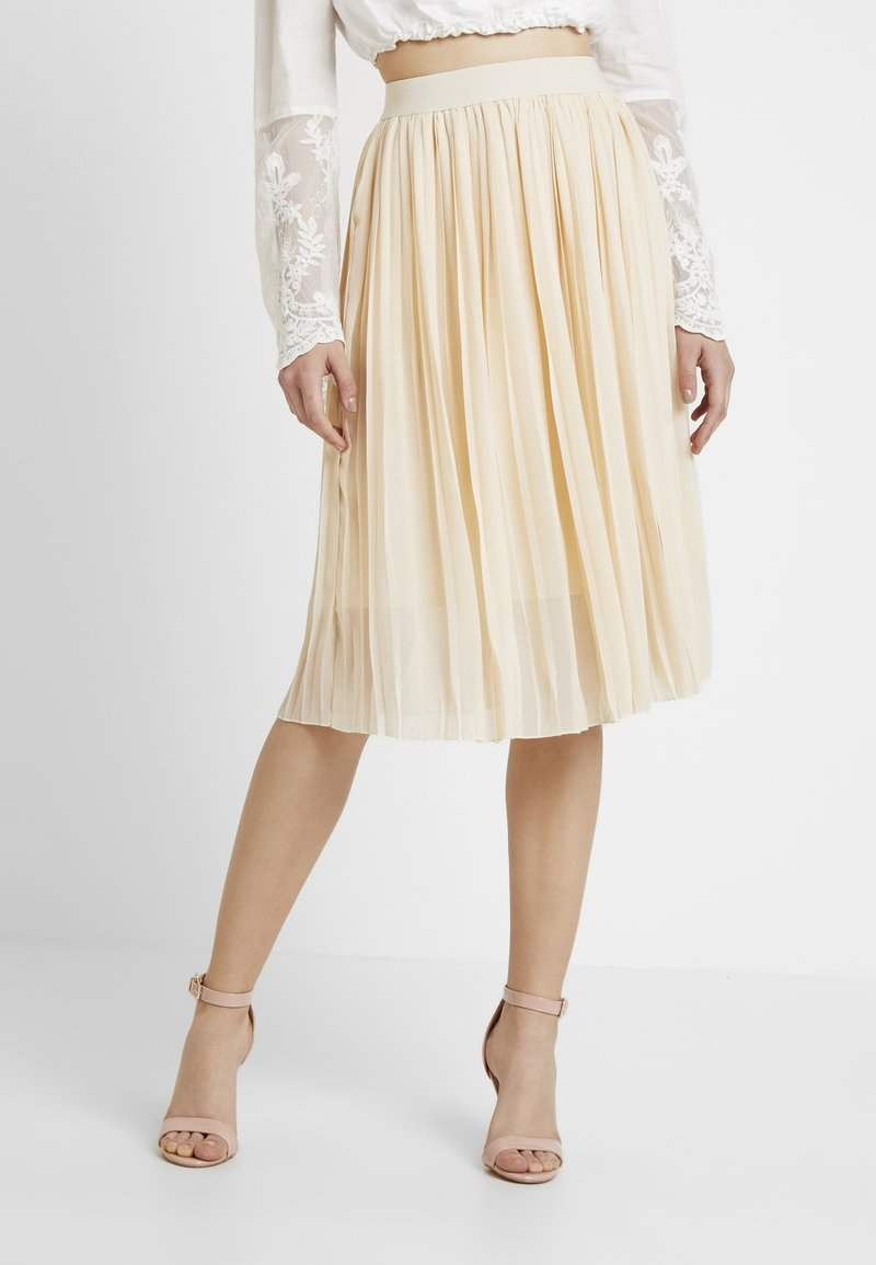 NA-KD - MIDI PLEATED SKIRT - A-line skirt - beige