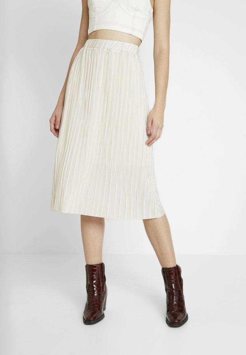 NA-KD - PLISSE SKIRT - A-line skirt - beige