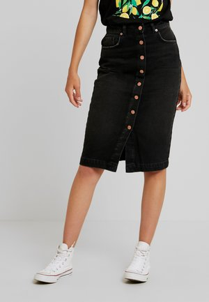 BUTTON UP SKIRT - Gonna a tubino - washed black