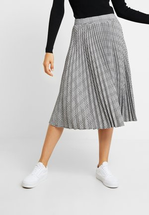 PLAID PLEATED MIDI SKIRT - Jupe trapèze - black/white
