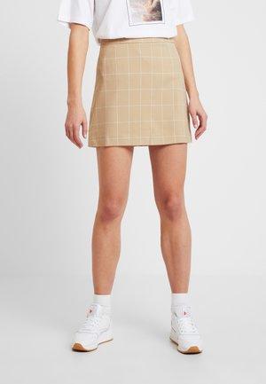 CHECKED MINI SKIRT - A-line skirt - beige