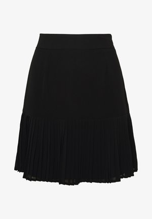 PLEATED BOTTOM SKIRT - Jupe trapèze - black