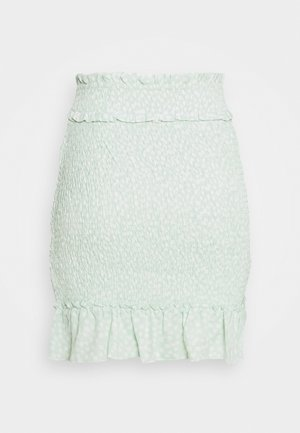 SMOCKED MINI SKIRT - Mini skirt - green