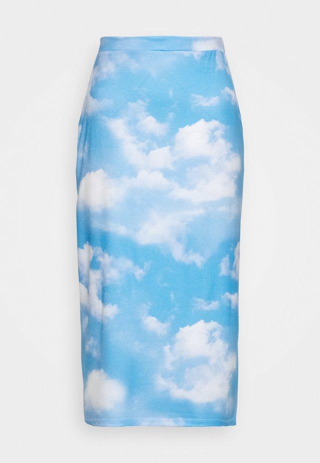 SKY PRINTED SKIRT - A-linjainen hame - light blue
