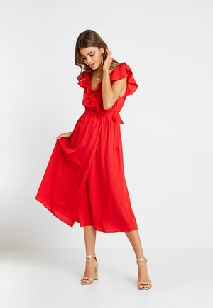 HIGH SLIT FRILL DRESS - Robe de cocktail - red