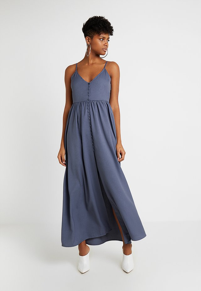BUTTON UP V NECK DRESS - Ballkleid - grey