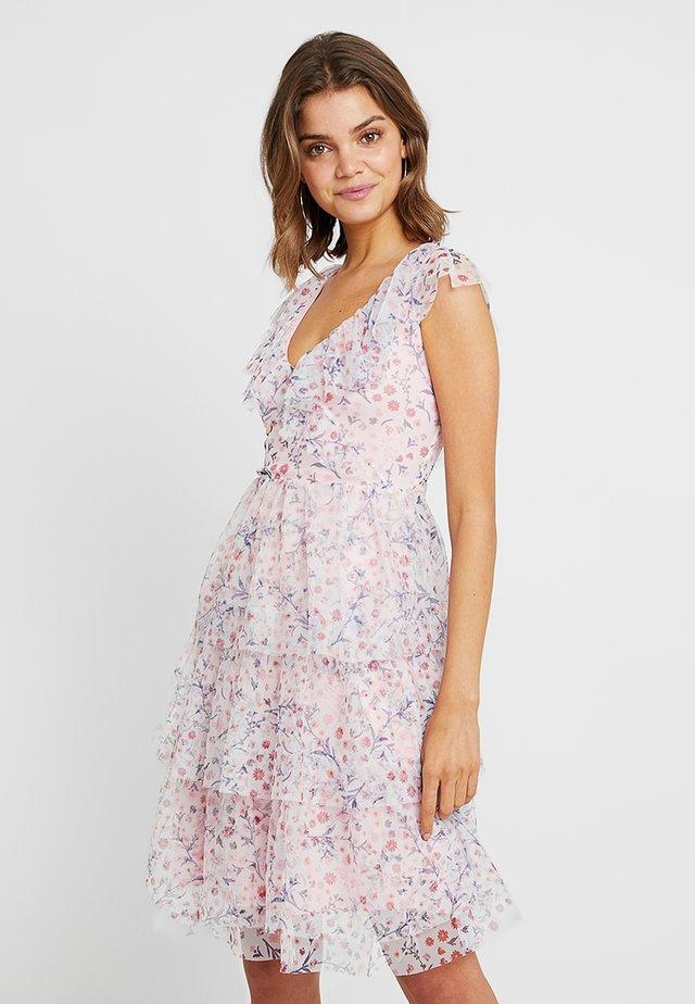 RUFFLE FLORAL MIDI DRESS - Sukienka letnia - pink