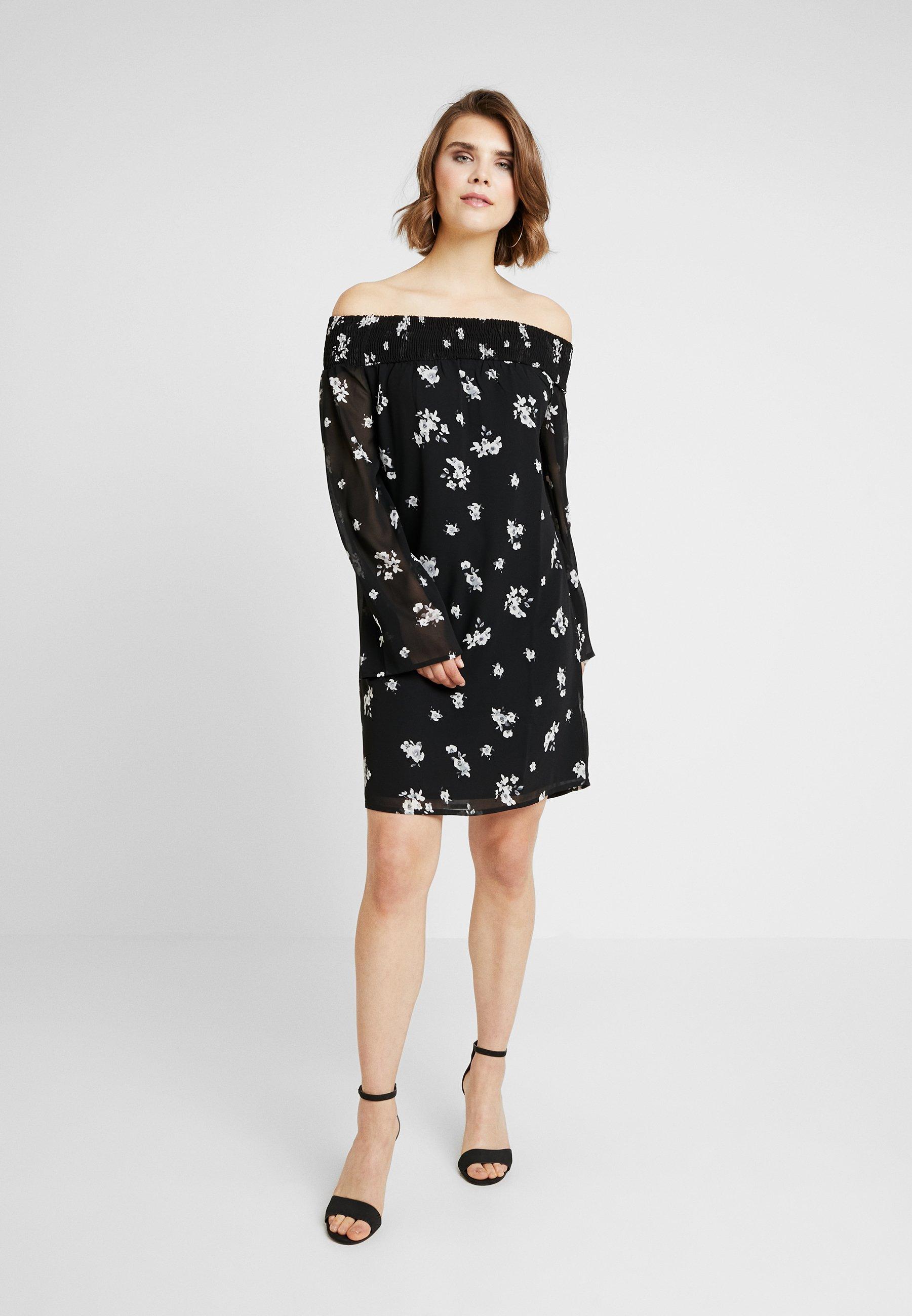 Na Floral Black kd white Printed DressRobe Cowgirl D'été Off Shoulder Y6Ifvbg7y