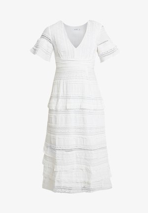 GRADUATION DROP SHORT SLEEVE V NECK DRESS - Vestito lungo - white