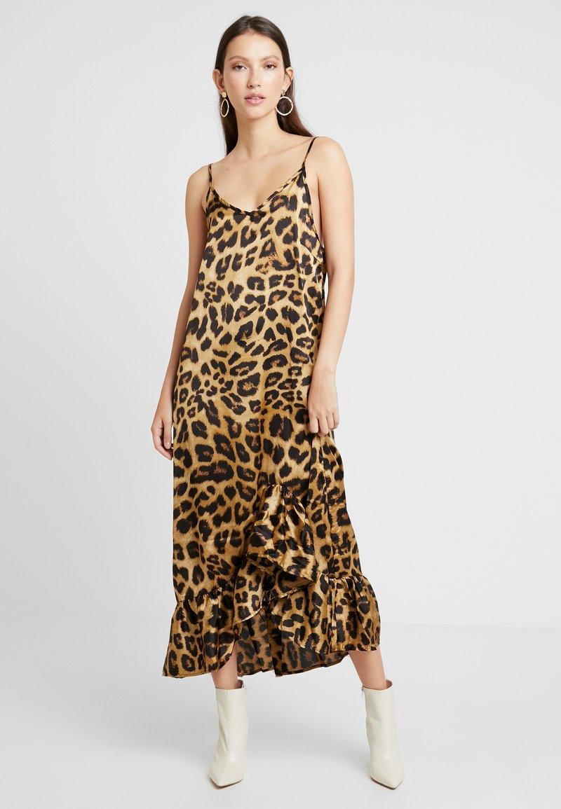 NA-KD - LONG FRILL DRESS - Maxikleid - beige